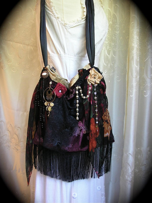 Gypsy Fringe Bag Velvet Handmade Slouchy Boho Hobo Bag Unique