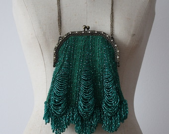 Beaded Bag Teal Green Victorian Handmade - Vintage Style-Special orders only!