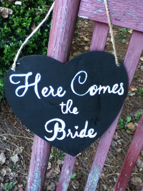 Double-sided Chalkboard Heart w/ Here Comes the Bride & Just Married Wedding Sign in Script Font Ring Bearer Flower Girl or car sign