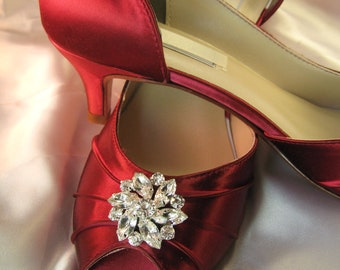 Wedding Shoes - Red Wedding Shoes Red Bridal Shoes with Crystal Flower - Over 100 Custom Color Choices with Crystal Flower