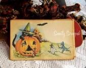 SALE Halloween Pumpkin Labels... Black Cat, Witch, Vintage Image