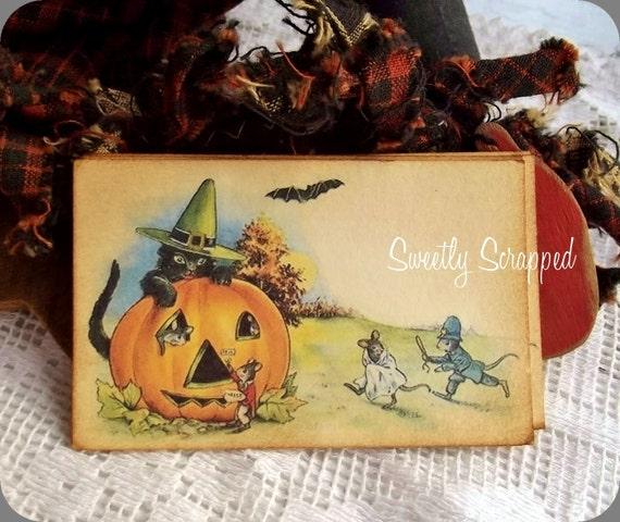 Halloween Pumpkin Labels... Black Cat, Witch, Vintage Image, No Holes or Twine