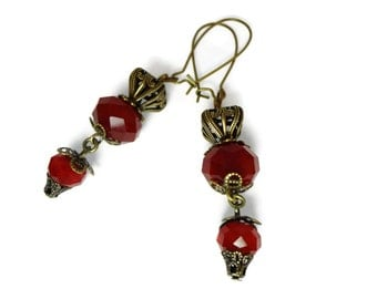 Victorian Style Baroque Top Hat Earrings in Brass with Deep Crimson Red Glass Faceted Orbs on Brass pierced wires by Dr Brassy Steampunk