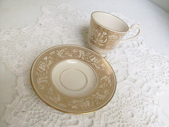 Pedestal Gold High Tea Cup and Saucer Demitasse Renaissance Franciscan Made in USA