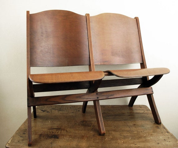 RESERVED Vintage Theater Seats Folding Wood Chairs