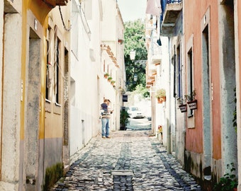 Lisbon Photography - Portugal Photo - Travel Photography - European Architecture Print Portuguese Wall Art City Streets Peach Yellow