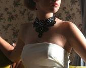 statement necklace jewelry, victorian bib necklace, black lace choker necklace collar, black bridal necklace - ANA