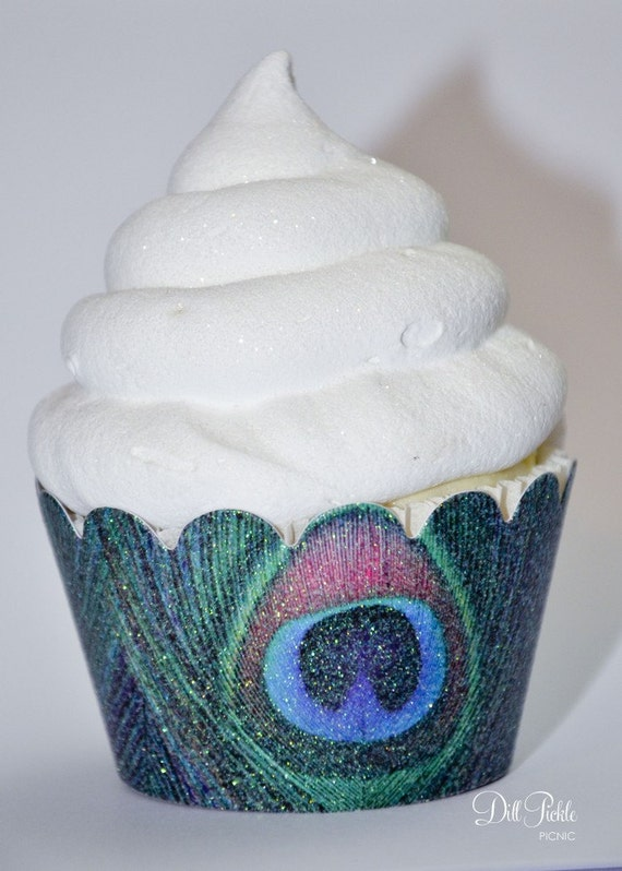 Peacock Themed Glitter Cupcake Wrappers - Standard Cupcake Wraps Set of 25