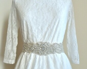 "2.5"" wide Bridal Crystal Sash, wedding belts and sashes, Beaded rhinestone belt - FARAH -  Ships in 1 week"