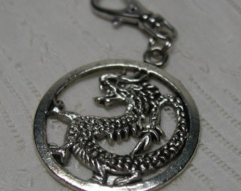 Silver Dragon Charm Zipper Pull Backpack Clip Key Chain Fob