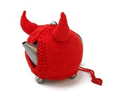 FREE SHIPPING - Knit tea cosy red devil horns Halloween novelty tea cozy unique unusual cozies Made to Order