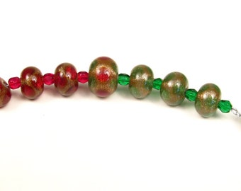 Christmas Lampwork Beads - Red, Green and Gold // Handmade Christmas Lampwork Beads // Red and Gold Lampwork // Green and Gold Lampwork