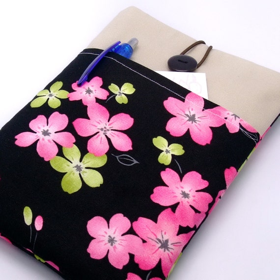 Kindle case, Kindle touch cover, Kindle Fire sleeve, Ereader sleeve with a front pocket, PADDED - Pink and Green Flowers