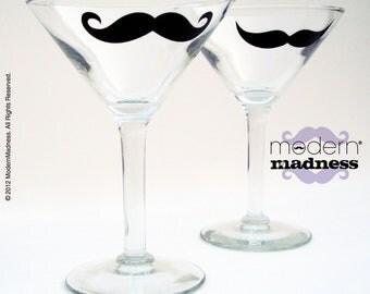 NEW - Moustache Martini Glasses - set of 2