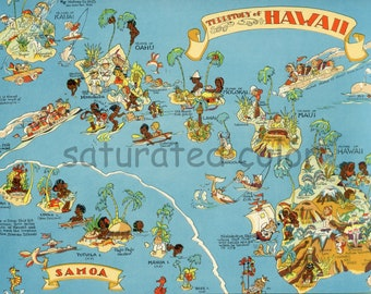 RESERVED Hawaii Map ORIGINAL 9 x 13 Vintage 1930s Picture Map Antique Vintage Ruth Taylor White - Honolulu Pearl City Hilo Waikiki Beach