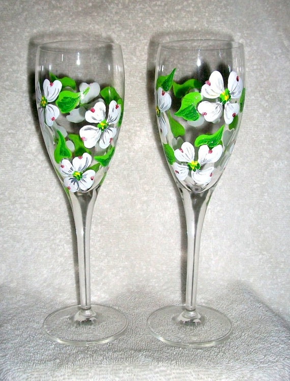 Made to Order / Handpainted Champagne Flutes Hand Painted  Dogwood Flowers  6 oz.  Set of  2 Mothers Day