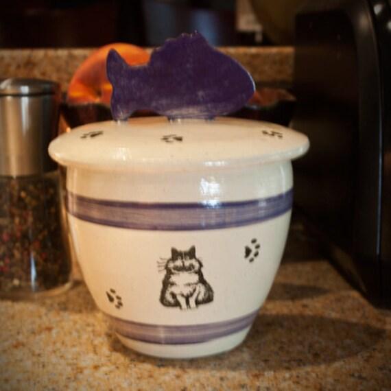 Fat Cat - Kitty Treat Jar in Indigo