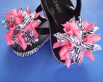 Zebra Print & Hot Pink Flip Flops - Korker Bows...Toddler Sizes...