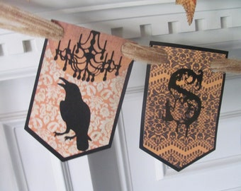 """Victorian Inspired """"SPOOKY"""" Halloween Banner featuring Gothic Style Lettering with Ravens & Chandeliers"""