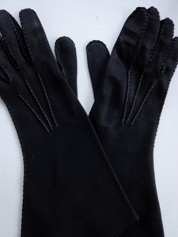 Vintage Gloves 1960's Black Wear Right Double Cotton Size 6 and a half  Hand Stitched
