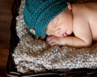 Newsboy Hat, Baby Photo Prop, Teal Newsboy Cap, Baby Boy Crochet Newsboy Hat, Baby Boy Shower Gift - by JoJosBootique
