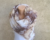 Knit Lace Shawl Mohair / Extra Long Lightweight Scarf / Classic Winter Accessories / Knitting Earth tones Stole / Women Christmas Gift idea