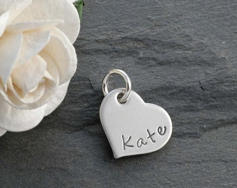 """Sterling Silver Heart Add On Charm - Personalized - 1/2"""""""