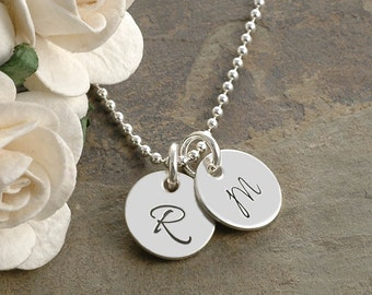 Hand Stamped Jewelry - Two Tiny Personalized discs - 11mm - Initial Necklace