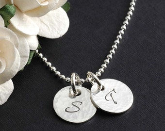 Initial Necklace - two Hammered discs, Mother's day gifts, gifts for mom, two initials, initial jewelry