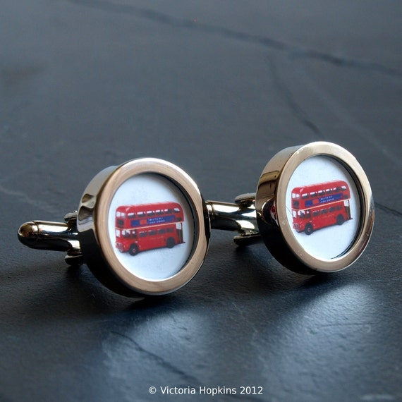 London Cuff Links of the Iconic Red London Bus