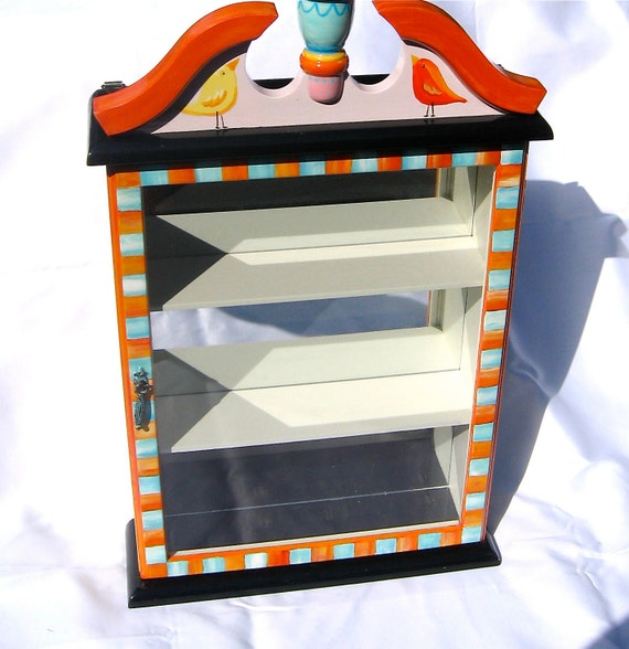 HAND PAINTED CABINET birds letters mirrored turquoise and orange