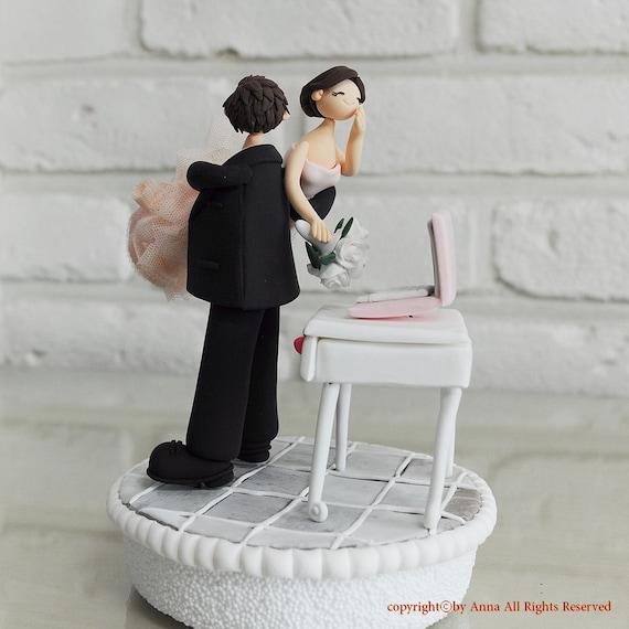 Custom Wedding Cake Topper - Workaholic couple -