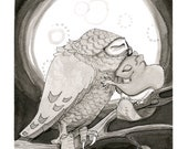 Giclee Print, 2012 Word.A.Day.Illustration print, owl and squirrel hug under the moon