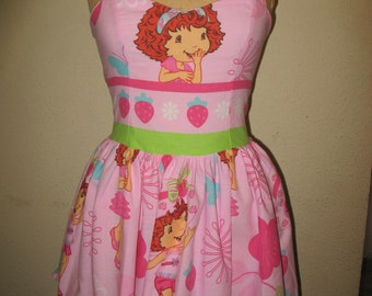 SALE Strawberry Shortcake Upcycled Sweetheart Ruffled Halter Mini Dress