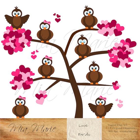 INSTANT DOWNLOAD - Digital Clip Art Valentine Clip Art, Valentine Clipart, Love Clipart, Love Clip Art, Bird Clip Art, Bird Clipart, Hearts