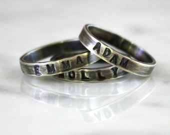 1 Mother's Personalized, Hand Stamped, Oxidized, Sterling Silver Ring, One Ring Custom made