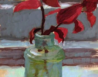 Still Life Gouache Painting - Open Edition Print - Tradescantia Zebrina in Aqua Sea Green Glass Bottle