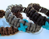 Ovarian Cancer Awareness TEAL Ribbon 550 Paracord Survival Strap Bracelet Anklet with Buckle