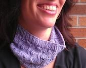Hand Knit Cowl Headband Women Lavender Gray Bamboo Silk Yarn Ready to Ship