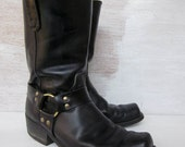vintage 70's black leather motorcycle boots tall men's size 10 made in the usa