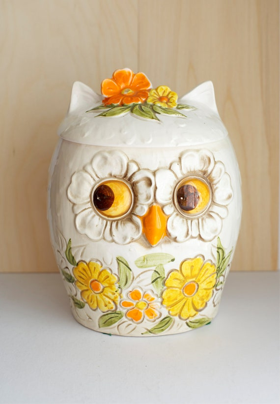 Ceramic Owl Cookie Jar Made In Japan Kitchen By Forestdaydream