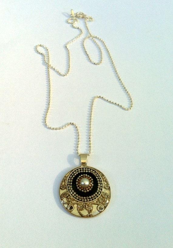 Pearl pendant Round Sterling Silver Pendant inlaid with a pearl filigree silver pendant, Black silver pendant unique design Israeli jewelry