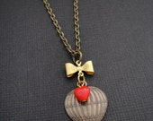 Cute Hot Air Balloon Necklace with Gold Bow Connector and Tiny Red Heart