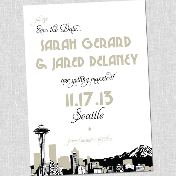 SMALL Seattle Skyline Save the Date Card