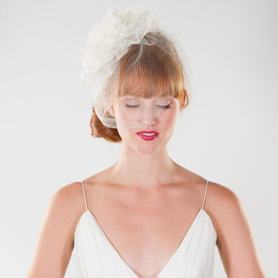 Bridal Fascinator Headpiece with Birdcage Veil and Flower