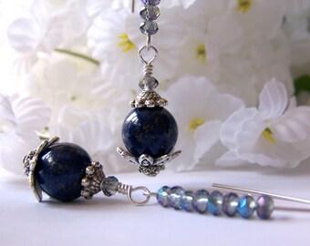 Lapis Lazuli Crystal Earrings, Chandelier Earrings, Drop Earrings, Dangle Earrings, Gemstone, Bridal Jewelry, Birthday, Modern, Mother's Day