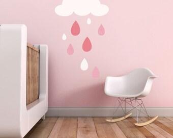 Kids Wall Decal - Rain Drops Children Wall Decal