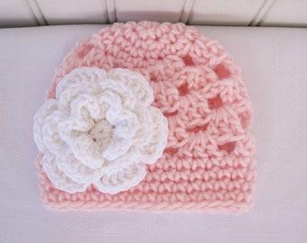Crochet Girls Hat - Baby Hat - Toddler Hat - Newborn Hat - Pink Hat - Soft Pink with White Flower - in sizes Newborn to 3 Years