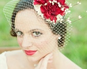 Bridal Floral Crown Fascinator Hat - Red Flowers, Cream Veil and Satin - AVALON