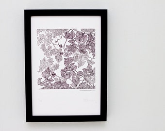 SALE >> Limited Edition Letterpress Illustration: Hiding Beneath a Canopy of Leaves